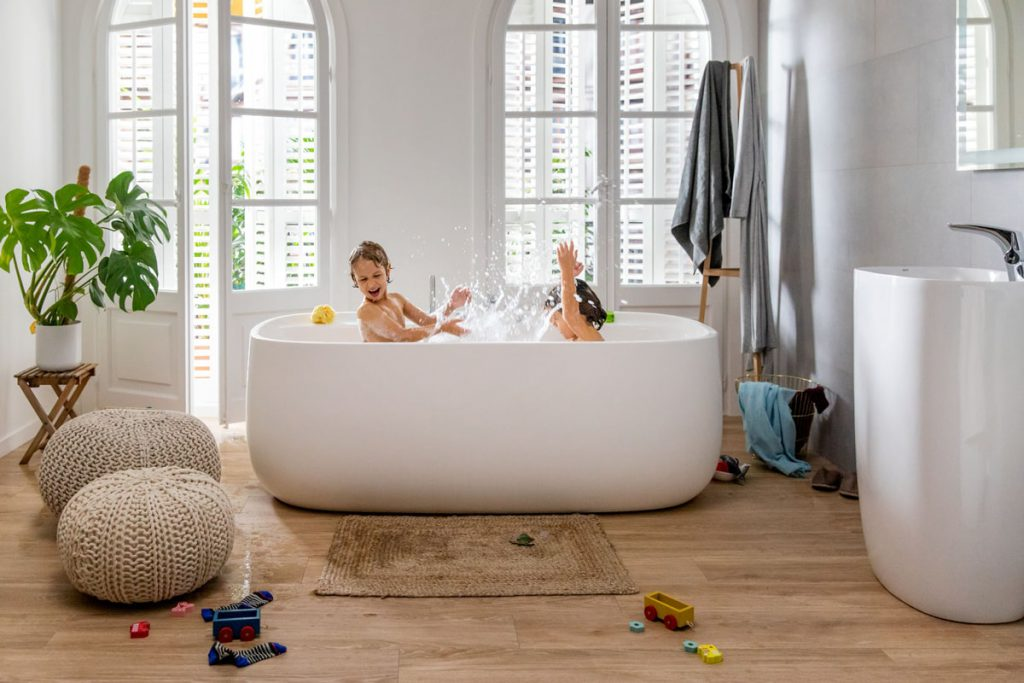 children playing in the bathtub